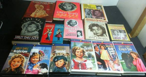 Photo 7 Books, 6 VHS Tapes  1 DVD All About SHIRLEY TEMPLE  Some Vintage - $15 (KISSIMMEE)