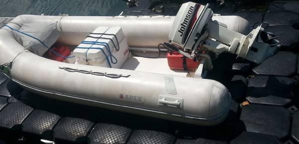Photo Apex A-12 Rigid Hull Inflatable Boat w 25hp Johnson 2 Stroke Outboard - $2,700 (Hernando Beach)