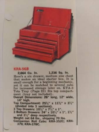 Photo reduced - SNAP ON TOOL BOX CHEST - 6 DRAWERS - TOP TOOLBOX KRA 56B W 2 KEYS - $225 (Eustis - Mt Dora)