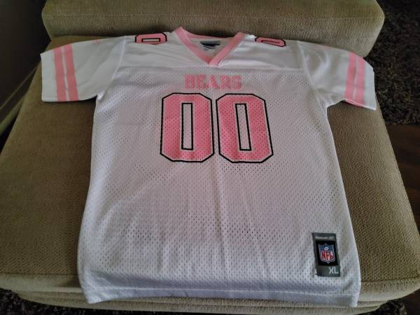 Photo Chicago Bears 00 Youth Girls XL 1820 Jersey pink and white Mesh Reeb - $15 (Normal)