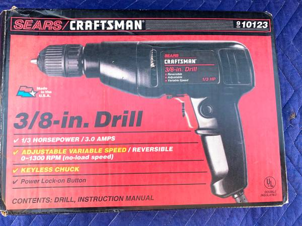 Photo Craftsman 3.0 Amp 38quot Corded Electric Drill with Keyless Chuck - $25 (Chaign)