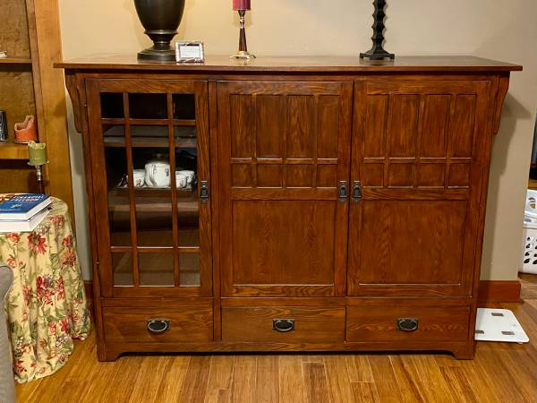 Photo Mission Style Entertainment Center - $300 (Chaign)
