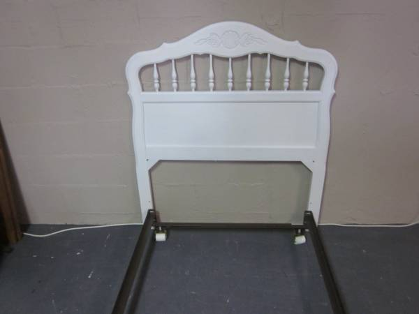 Photo White solid wood twin size headboard with bed frame - $125 (Hagerstown)