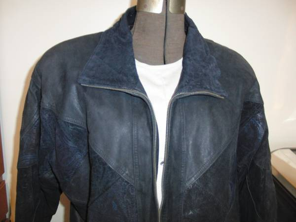 Photo Women39s Black Leather Coat Patchwork Design Size M - $50 (Colonial Park)