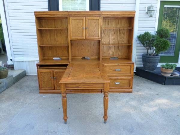 Photo 2 Person Oak Computer Desk with Hutch - $1,580 (Gastonia)