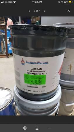 Photo 5 Gallon Bucket of Sherwin-Williams Dar Ran 4154 Burgundy - $65 (Mooresville)