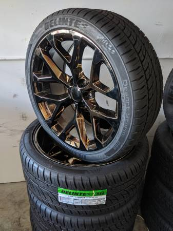 Photo Chevy Silverado Tahoe Suburban Wheels Tires P305 35R24 Rims 305 35 24 - $2,200 (Charlotte)