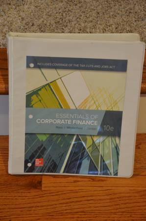 Photo Essentials of Corporate Finance Book 10th Edition - $45 (CONCORD)