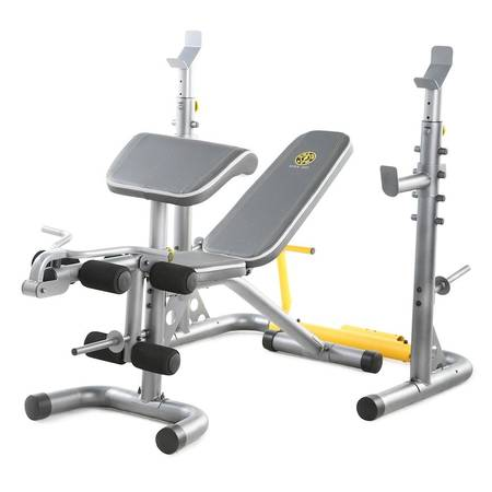 Photo Golds gym XRS 20 workout bench with Olympic bar and 80 lbs in weight plates - $200 (Charlotte)