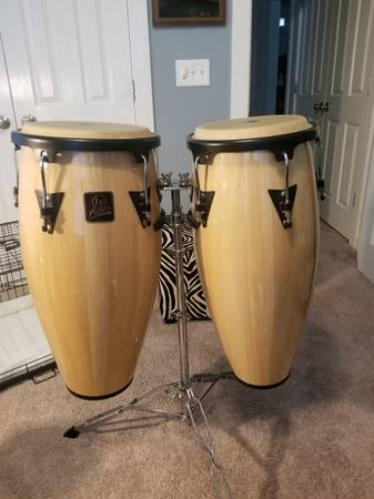 Photo LP Aspire Conga Drum Set Natural Wood with Stand - $200 (Huntersville)
