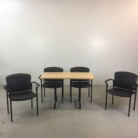 Photo Modern HON Laminate Light Wood Tone Break Room Table with (4) Black... - $375 (DGastonia)