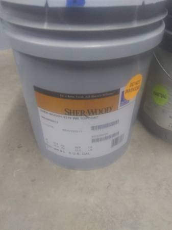Photo Partial Bucket Sherwin-Williams Sher-Wood Top Coat - $20 (Mooresville)
