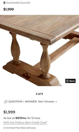 Photo Pottery Barn Table  Chair Set - $2,500 (Stallings)