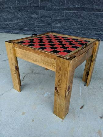 Photo Rustic Pine Checker Board Game Table, Chess w Portable Tray 26quot x... - $115 (DGastonia)