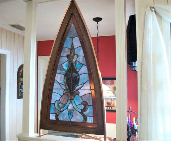 Photo Sacred Heart Stained Glass Church Window with Copper Frame - $650 (GASTONIA)
