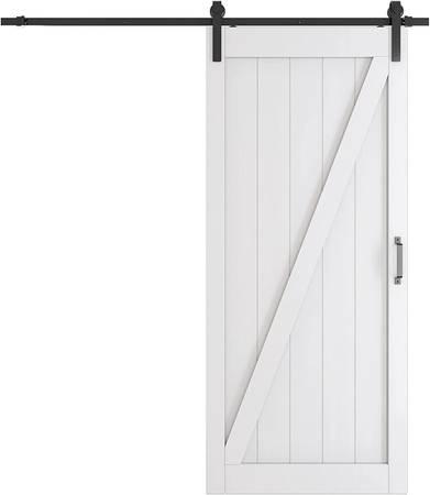 Photo TENONER Sliding Barn Door, 36in x 84in, White Z Frame, with Barn Door - $220 (Monroe NC)