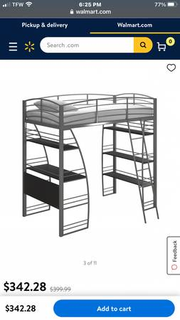 Twin loft bed with desk and shelves - $100 (Cherryville)