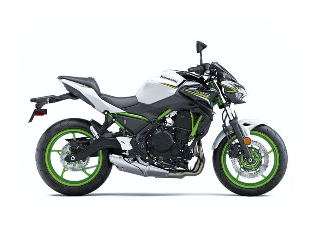 Photo 2021 Kawasaki Z650 Pearl Blizzard WhiteMetallic Spark Black