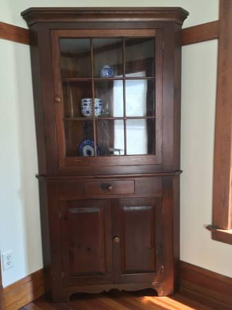 Photo Corner Cabinet, Hardwood, Glass front - $225 (Chautauqua)