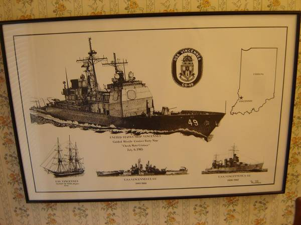 Photo US NAVY USS VINCENNES CG49 artwork 17quot X 25quot professionally framed. - $50 (Niagara Falls, NY and Grand Island, NY)
