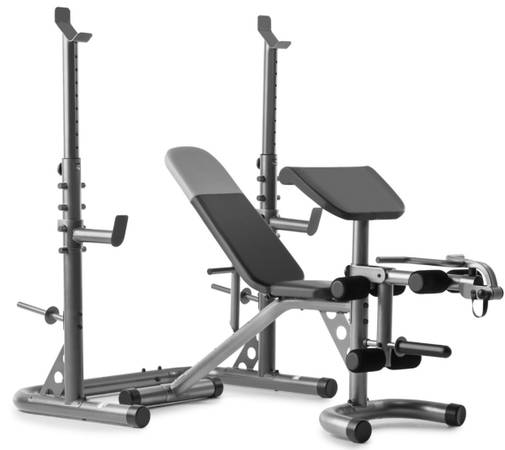 Photo Weider XRS20 Adjustable Olympic Bench w Independent Squat Rack  Preacher Pad - $300 (Elma)