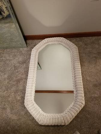 Photo White Wicker Mirror - $35 (Canfield)