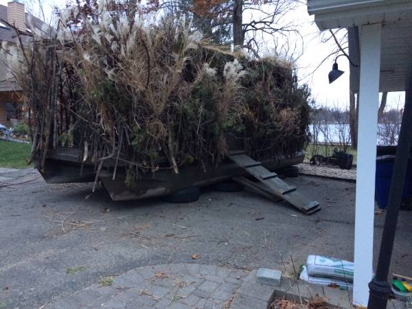 Photo 20ft pontoon boat duck blind for 6 hunters. - $4,500 (Antioch)
