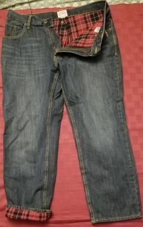 Photo BRAND NEW St Johns Bay Flannel lined Blue Jeans 36x29 - $35 (LOMBARD)