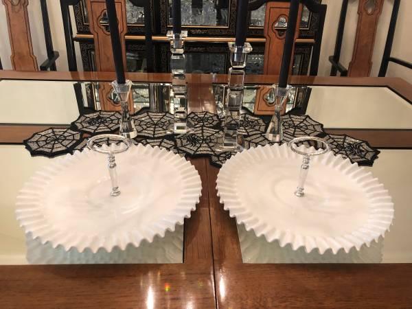 Photo Fenton Hobnail White Milk Glass 2 Serving Platters Crimped wHandles - $90 (ChicagoValparaiso)