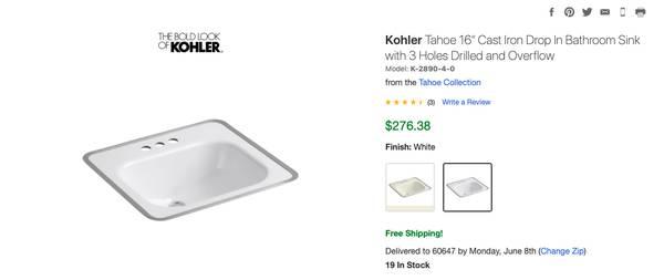 Photo Kohler Tahoe Sink - cast iron - $75 (Logan Square)