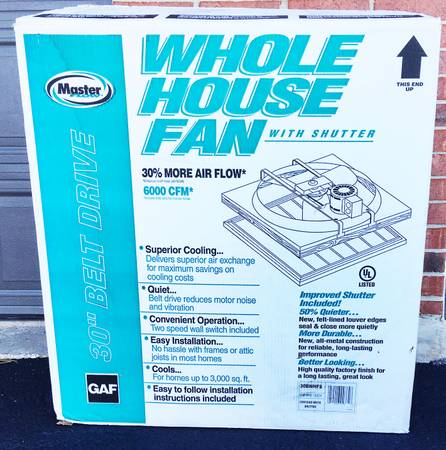 Photo Master Flow 6000CFW 30quot Whole House Fan $220 OBO - $220 (Warrenville)