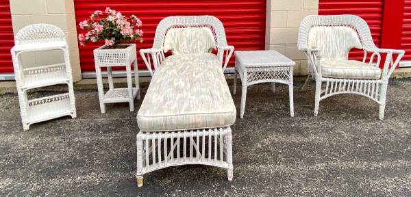 Photo Matched 5pc set white wicker armchair, chaise, table, shelf, planter - $395 (Midsummer Gardens, Glenview)