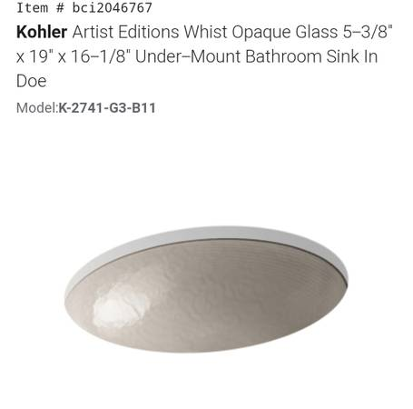 Photo New Kholer Artist Editions Whist Opaque Glass Sink, Retail $437 - $215 (4311 s western Blvd Chicago il)