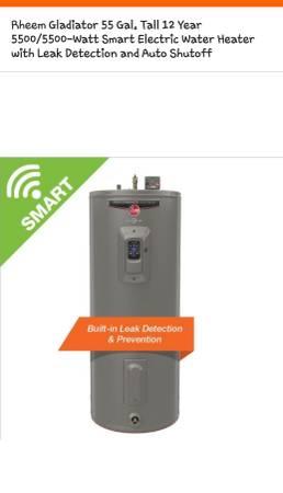 Photo New Rheem Gladiator 55 GAL Smart Electric Water Heater, Retail $700 - $450 (4311 s western Blvd Chicago)