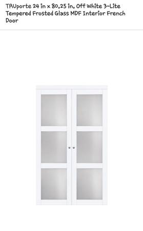 Photo New TruPorte 24in 80in 3-Light Tempered Glass Doors, Retail $245 - $118 (4311 s western Blvd Chicago)