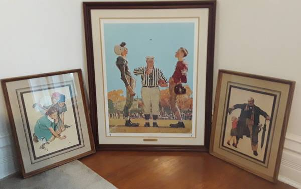 Photo Norman Rockwell framed prints, 3 for $60, football coin toss, marbles, - $60 (Beverly  Morgan Park  Chicago)