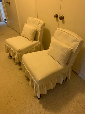 Photo Pair of Pier One slip covered Slipper Chairs - $80 (Northfield)