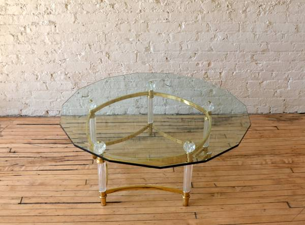 Photo Stunning Vintage Brass and Lucite Coffee Table With Glass Top - $495 (Chicago)