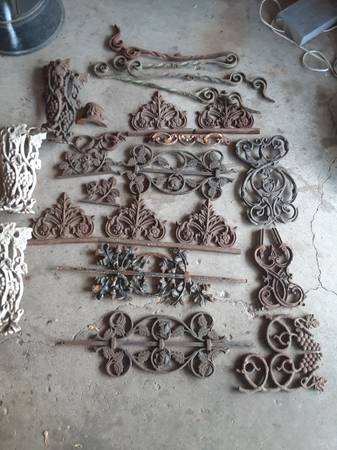 Photo Vintage Ornamental Cast Iron pieces for art projects yard decor etc - $5 (lyons industrial)