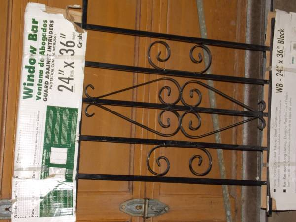 Photo Window Bar- Ornate security bars. with mount hardware  24x36 - $15 (whiting)