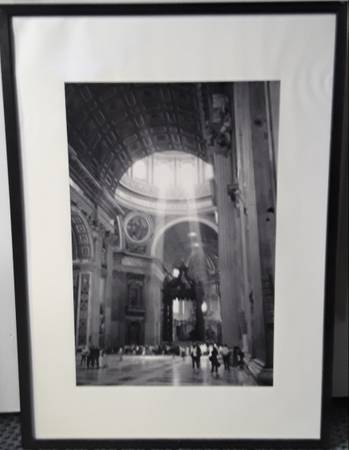 Photo chapel photograph framed 28in x20in black white - $11 (Beverly Morgan park Chicago)