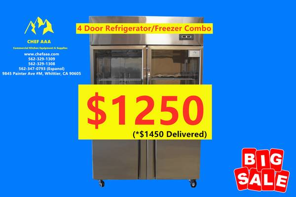 Photo 4-door Glass-door Refrigerator  Stainless Steel Freezer Combination lt - $1250 (BRAND NEW)