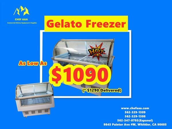 Photo Commercial Glass GelatoIce-CreamPopsicle Freezer Display Case - $1,090 (Whittier)