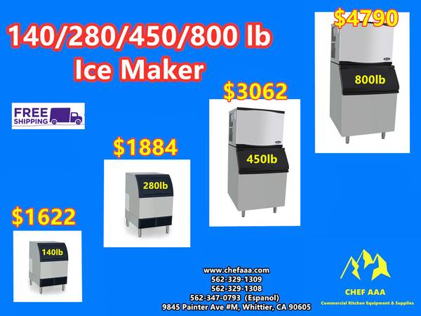 Photo NSF 140280460800 lbs Ice Maker YR(Bin Capacity 8888395) CAL - $1622 (Brand New)