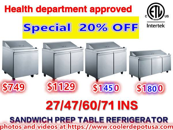 Photo NSF 27486072 Refrigerated Salad Sandwich Prep Table - $729 (100 new)