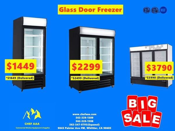 Photo NSF One  Two  Three-door Glass Freezer (Restaurant Equipment) ltH2 - $729 (Brand New)