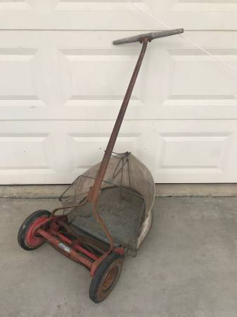 Photo Vintage Craftsman Yard-Man Reel Mower and Original Grass Catcher - $75 (Durham)