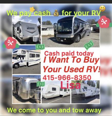 Photo We pay for RV motorhome 5th wheel travel trailer class A B C ( anywhere we come to you anywhere  we tow and smog we)