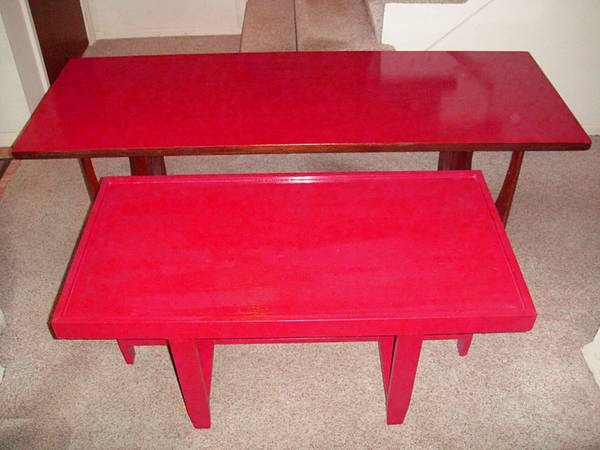 Photo 2 Vintage Art Deco Red Wood Coffee Tables - $100 (North Cols.)