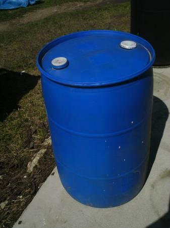 BLUE 55 gallon, food grade, plastic barrels/drums (delivery ...